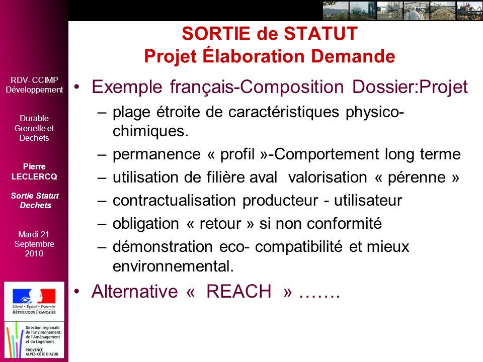 RDV- CCIMP Développement Durable Grenelle et Dechets Pierre LECLERCQ Sortie Statut Dechets Mardi 21 Septembre 2010 SORTIE de STATUT Projet Élaboration