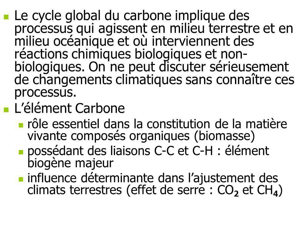 Le cycle global du carbone implique des processus qui agissent en milieu terrestre et en milieu océanique et où interviennent des réactions chimiques