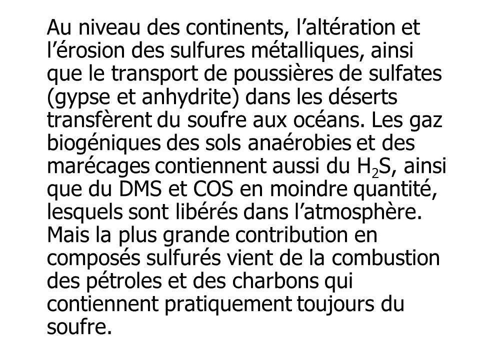 Au niveau des continents, laltération et lérosion des sulfures métalliques, ainsi que le transport de poussières de sulfates (gypse et anhydrite) dans
