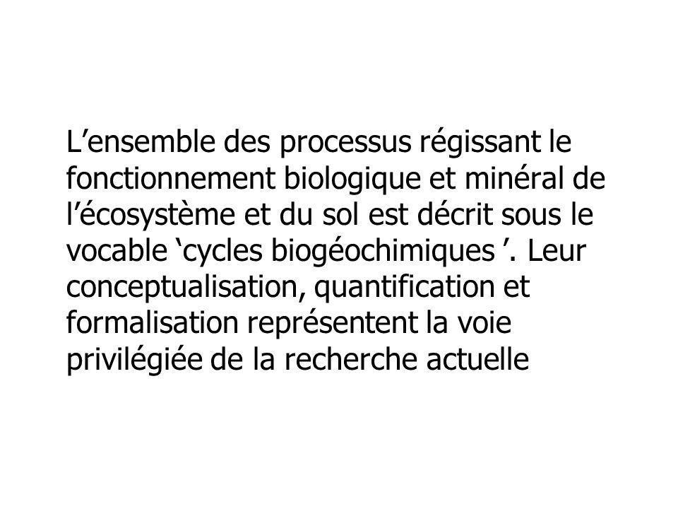 Lensemble des processus régissant le fonctionnement biologique et minéral de lécosystème et du sol est décrit sous le vocable cycles biogéochimiques.