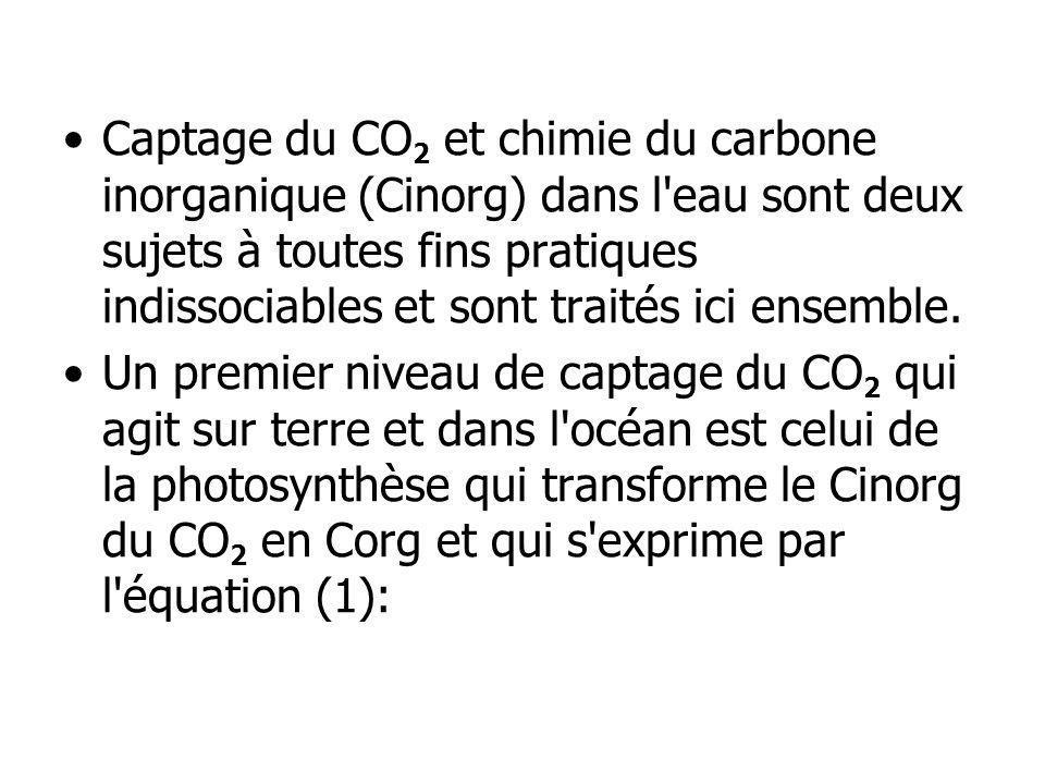 Captage du CO 2 et chimie du carbone inorganique (Cinorg) dans l'eau sont deux sujets à toutes fins pratiques indissociables et sont traités ici ensem