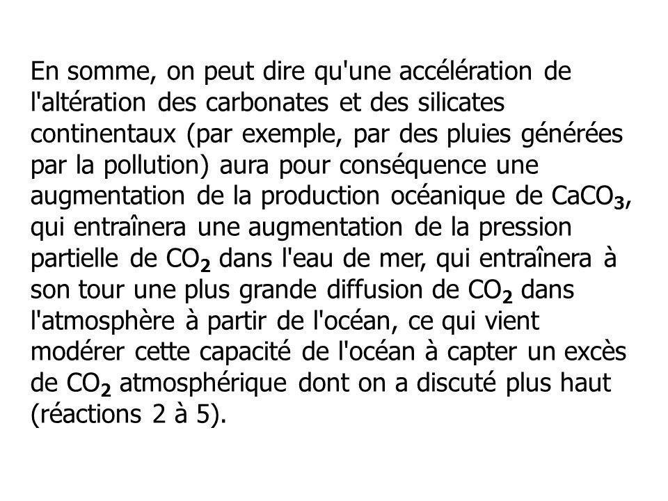 En somme, on peut dire qu'une accélération de l'altération des carbonates et des silicates continentaux (par exemple, par des pluies générées par la p