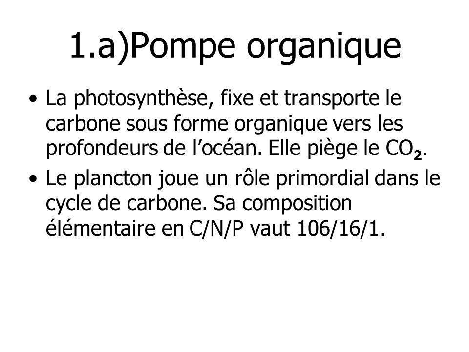 1.a)Pompe organique La photosynthèse, fixe et transporte le carbone sous forme organique vers les profondeurs de locéan. Elle piège le CO 2. Le planct