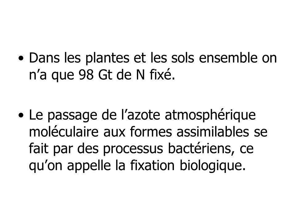 Dans les plantes et les sols ensemble on na que 98 Gt de N fixé. Le passage de lazote atmosphérique moléculaire aux formes assimilables se fait par de