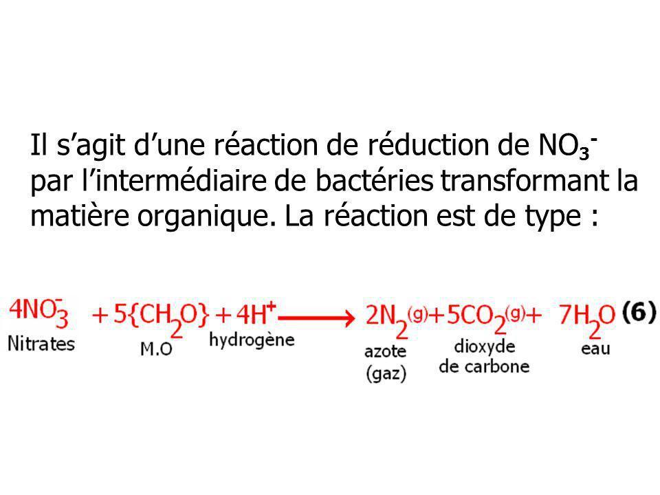 Il sagit dune réaction de réduction de NO 3 - par lintermédiaire de bactéries transformant la matière organique. La réaction est de type :