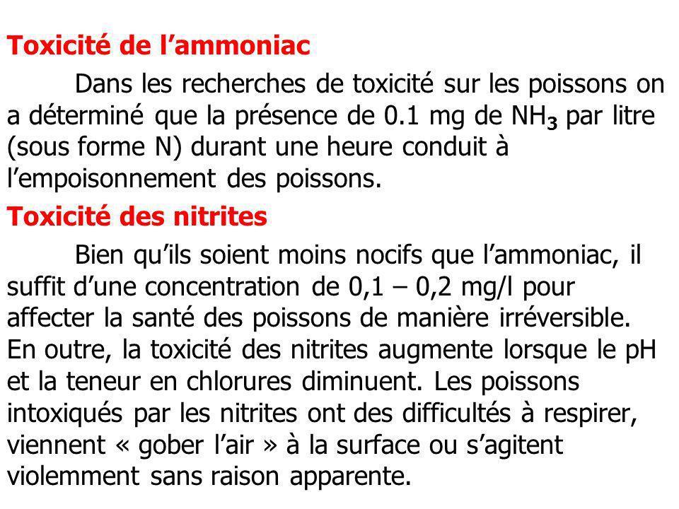 Toxicité de lammoniac Dans les recherches de toxicité sur les poissons on a déterminé que la présence de 0.1 mg de NH 3 par litre (sous forme N) duran