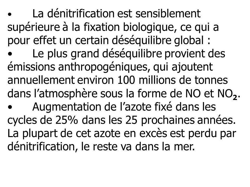 La dénitrification est sensiblement supérieure à la fixation biologique, ce qui a pour effet un certain déséquilibre global : Le plus grand déséquilib