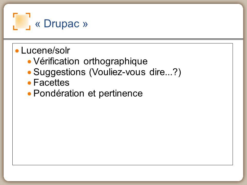 « Drupac » Lucene/solr Vérification orthographique Suggestions (Vouliez-vous dire...?) Facettes Pondération et pertinence