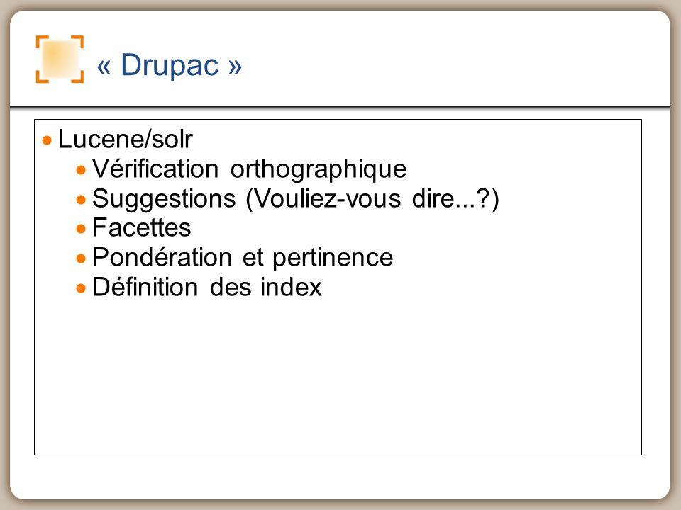 « Drupac » Lucene/solr Vérification orthographique Suggestions (Vouliez-vous dire... ) Facettes Pondération et pertinence Définition des index