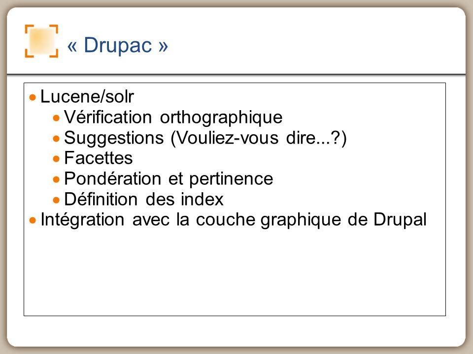 « Drupac » Lucene/solr Vérification orthographique Suggestions (Vouliez-vous dire...?) Facettes Pondération et pertinence Définition des index Intégration avec la couche graphique de Drupal