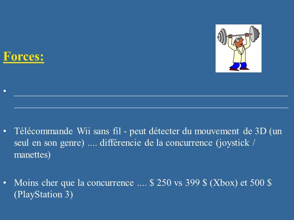 Forces: ________________________________________________________ Télécommande Wii sans fil - peut détecter du mouvement de 3D (un seul en son genre)..