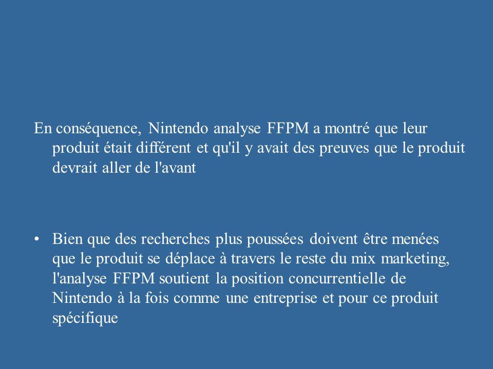 En conséquence, Nintendo analyse FFPM a montré que leur produit était différent et qu'il y avait des preuves que le produit devrait aller de l'avant B