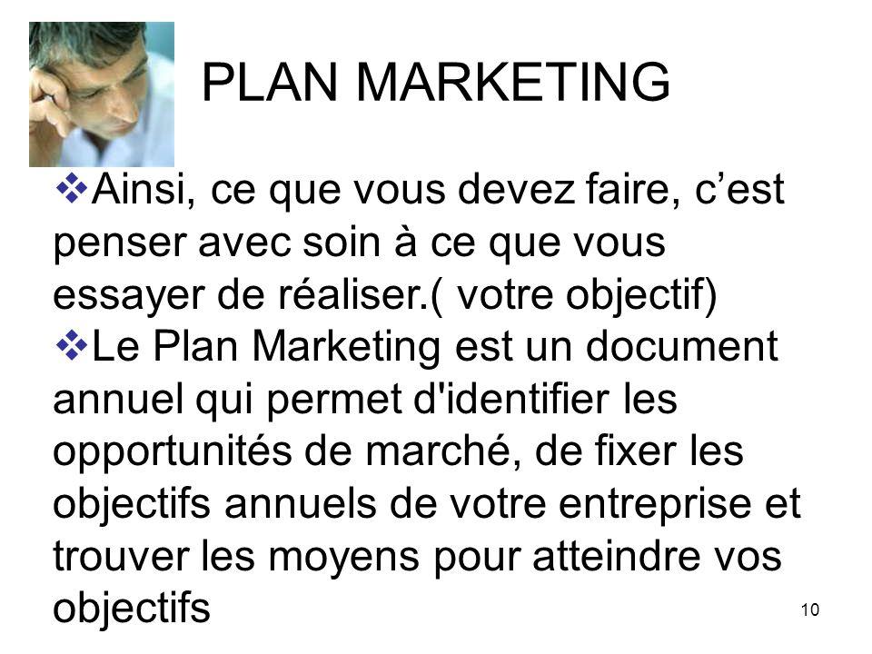 10 PLAN MARKETING Ainsi, ce que vous devez faire, cest penser avec soin à ce que vous essayer de réaliser.( votre objectif) Le Plan Marketing est un d