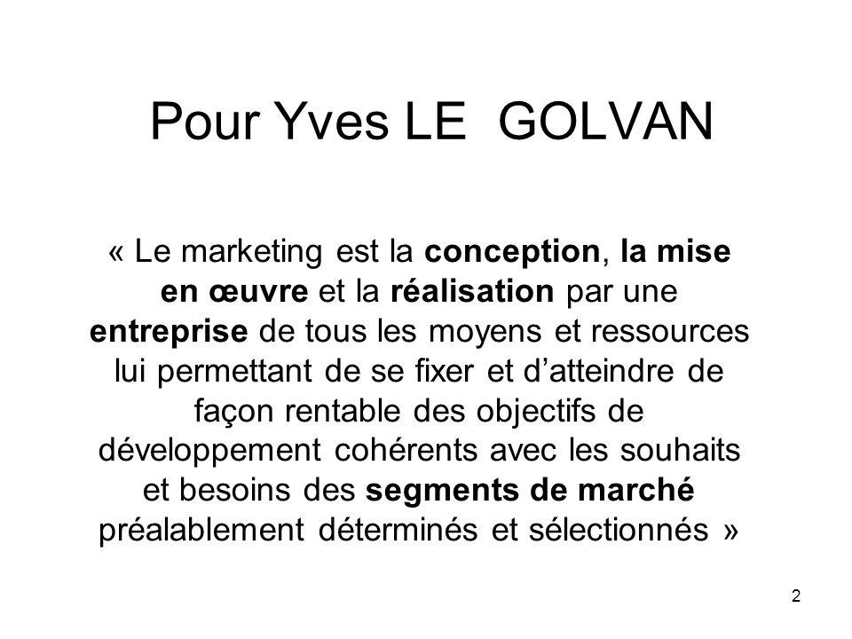 2 Pour Yves LE GOLVAN « Le marketing est la conception, la mise en œuvre et la réalisation par une entreprise de tous les moyens et ressources lui per