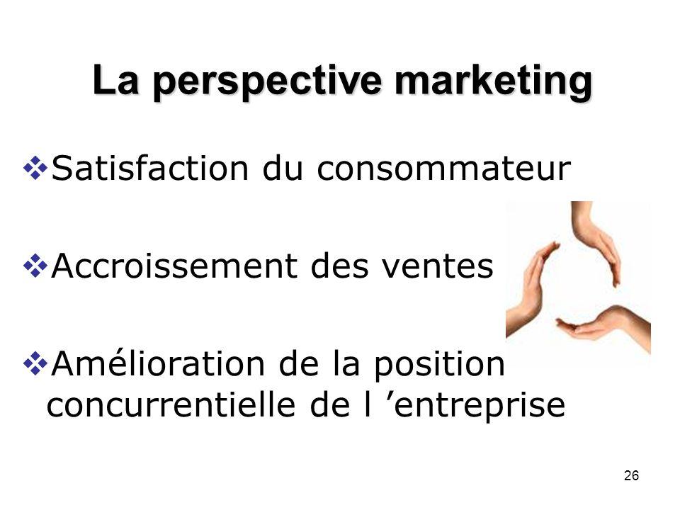 26 La perspective marketing Satisfaction du consommateur Accroissement des ventes Amélioration de la position concurrentielle de l entreprise