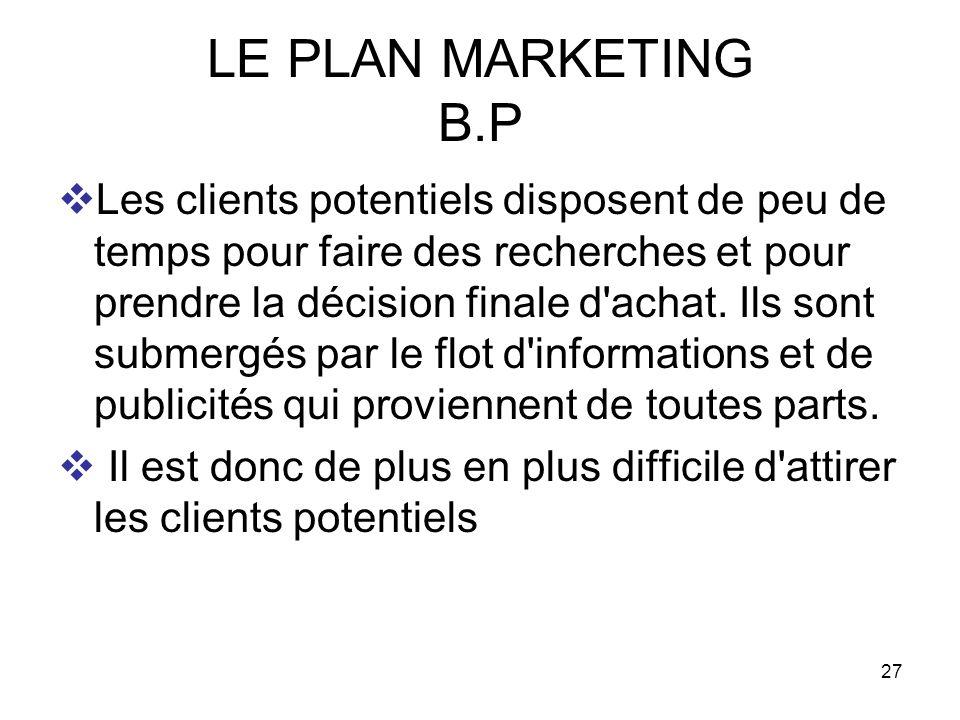 27 LE PLAN MARKETING B.P Les clients potentiels disposent de peu de temps pour faire des recherches et pour prendre la décision finale d'achat. Ils so