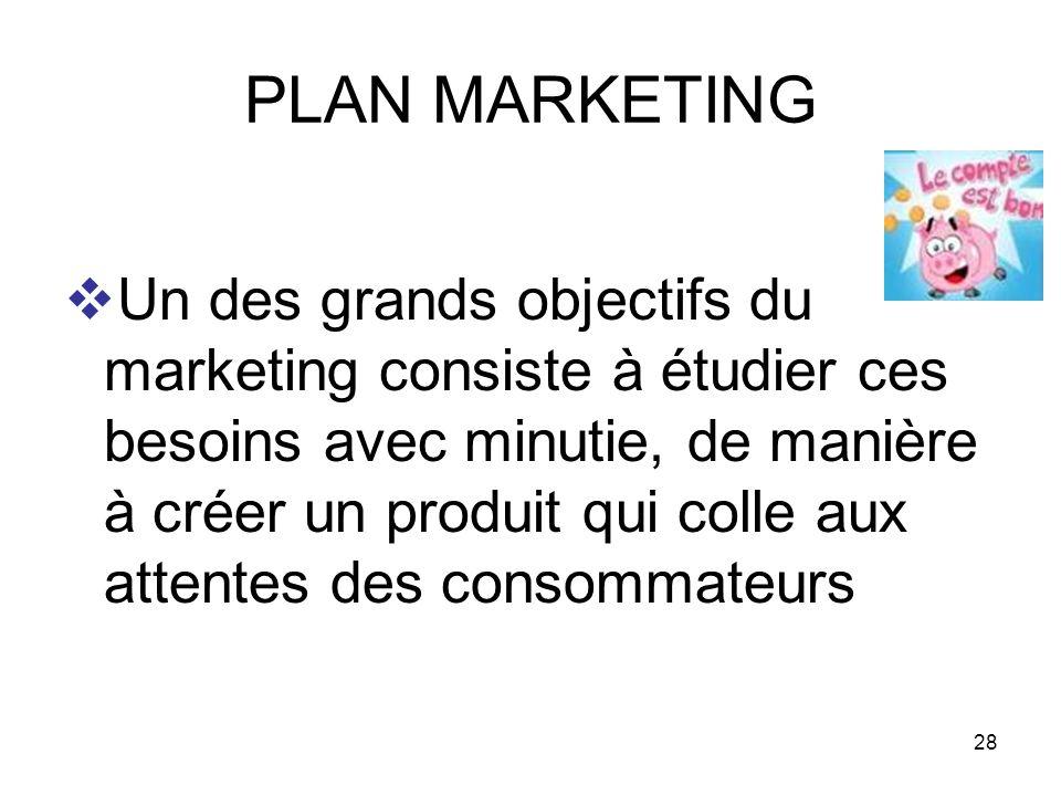 28 PLAN MARKETING Un des grands objectifs du marketing consiste à étudier ces besoins avec minutie, de manière à créer un produit qui colle aux attent