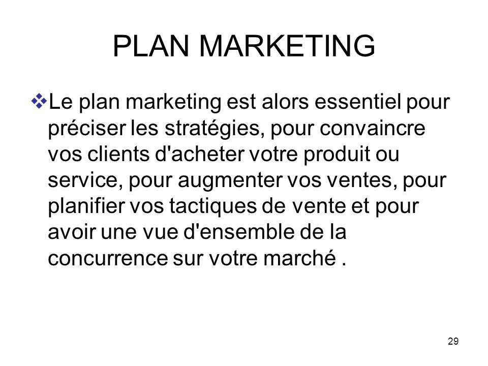 29 PLAN MARKETING Le plan marketing est alors essentiel pour préciser les stratégies, pour convaincre vos clients d'acheter votre produit ou service,