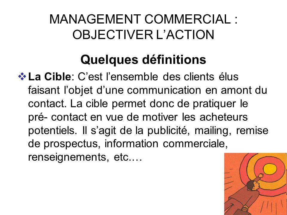 42 MANAGEMENT COMMERCIAL : OBJECTIVER LACTION Quelques définitions La Cible: Cest lensemble des clients élus faisant lobjet dune communication en amon