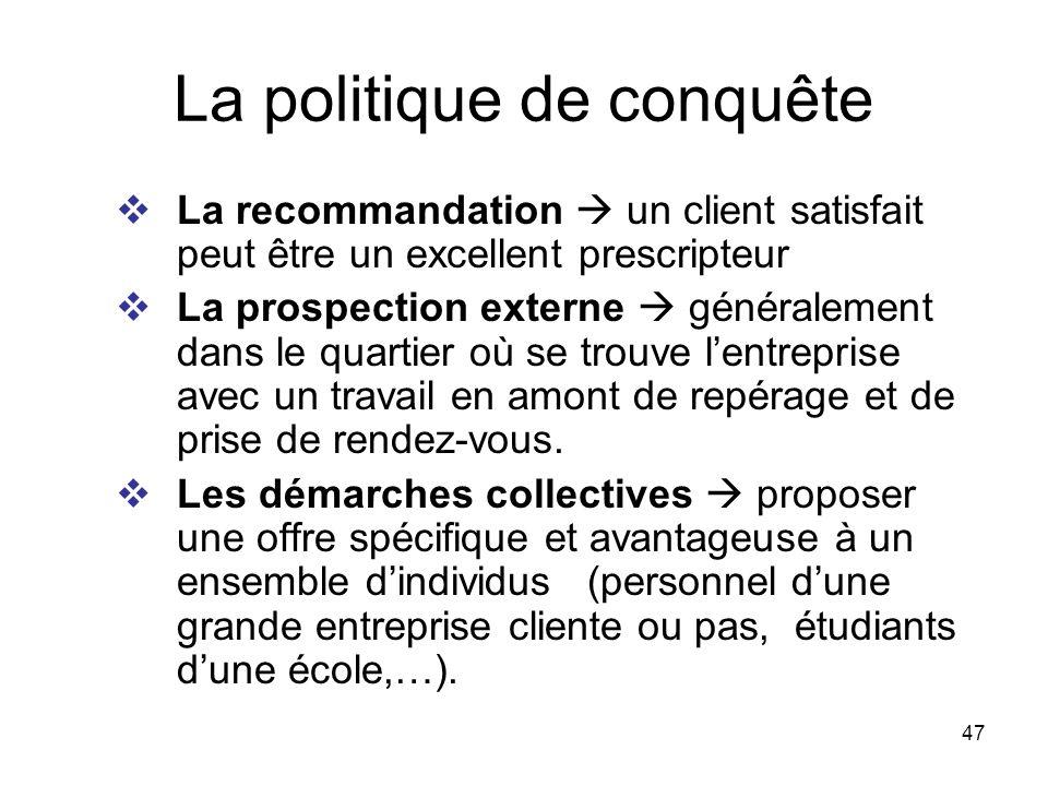 47 La politique de conquête La recommandation un client satisfait peut être un excellent prescripteur La prospection externe généralement dans le quar