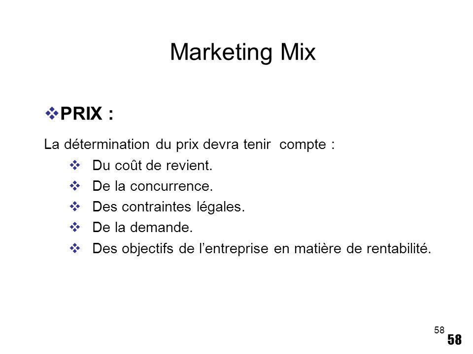 58 Marketing Mix PRIX : La détermination du prix devra tenir compte : Du coût de revient. De la concurrence. Des contraintes légales. De la demande. D