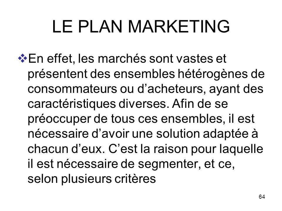 64 LE PLAN MARKETING En effet, les marchés sont vastes et présentent des ensembles hétérogènes de consommateurs ou dacheteurs, ayant des caractéristiq
