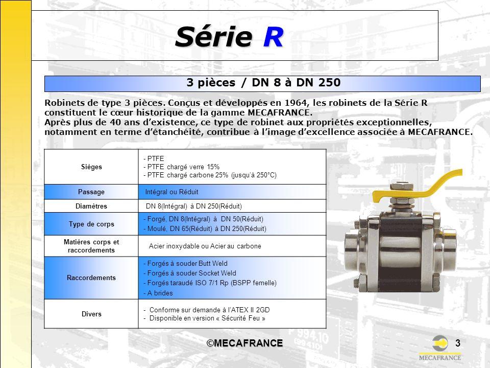 ©MECAFRANCE3 Série R Robinets de type 3 pièces. Conçus et développés en 1964, les robinets de la Série R constituent le cœur historique de la gamme ME