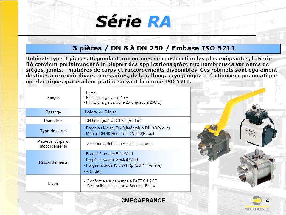 ©MECAFRANCE4 Série RA Sièges - PTFE - PTFE chargé verre 15% - PTFE chargé carbone 25% (jusquà 250°C) Passage Intégral ou Réduit Diamètres DN 8(Intégra