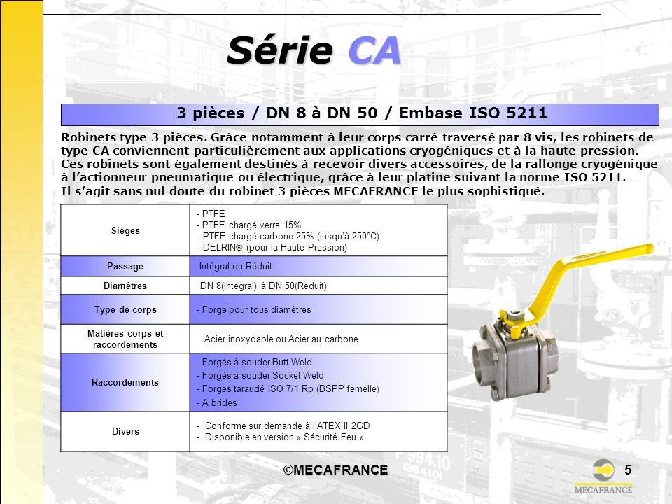 ©MECAFRANCE5 Série CA Sièges - PTFE - PTFE chargé verre 15% - PTFE chargé carbone 25% (jusquà 250°C) - DELRIN® (pour la Haute Pression) Passage Intégr