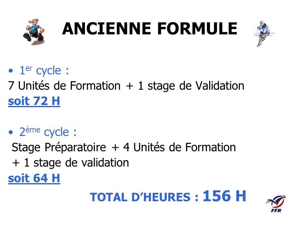 ANCIENNE FORMULE 1 er cycle : 7 Unités de Formation + 1 stage de Validation soit 72 H 2 ème cycle : Stage Préparatoire + 4 Unités de Formation + 1 sta