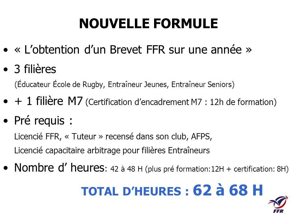 NOUVELLE FORMULE « Lobtention dun Brevet FFR sur une année » 3 filières (Éducateur École de Rugby, Entraîneur Jeunes, Entraîneur Seniors) + 1 filière