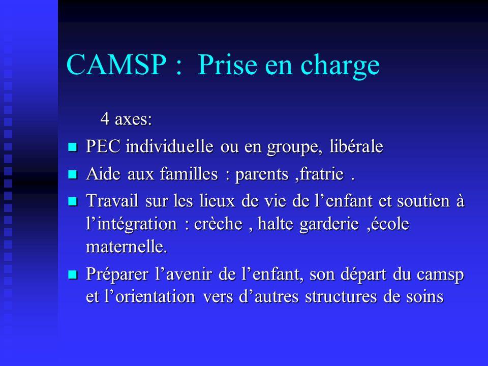 CAMSP : Prise en charge 4 axes: 4 axes: PEC individuelle ou en groupe, libérale PEC individuelle ou en groupe, libérale Aide aux familles : parents,fr