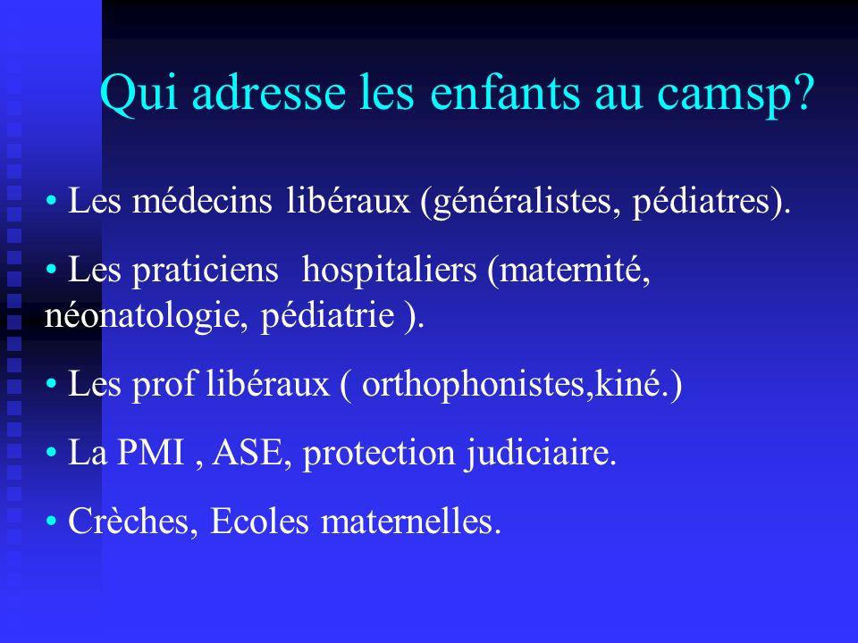 Les médecins libéraux (généralistes, pédiatres). Les praticiens hospitaliers (maternité, néonatologie, pédiatrie ). Les prof libéraux ( orthophonistes