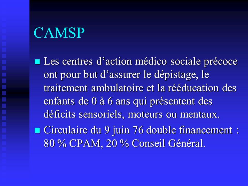 CAMSP Les centres daction médico sociale précoce ont pour but dassurer le dépistage, le traitement ambulatoire et la rééducation des enfants de 0 à 6