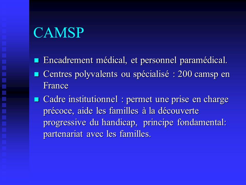 CAMSP Encadrement médical, et personnel paramédical. Encadrement médical, et personnel paramédical. Centres polyvalents ou spécialisé : 200 camsp en F