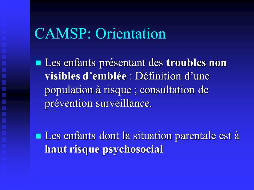 CAMSP: déroulement dune PEC Projet personnalisé défini après evaluation pluridisciplinaire : Consultation pédiatrique et/ou pédopsy.