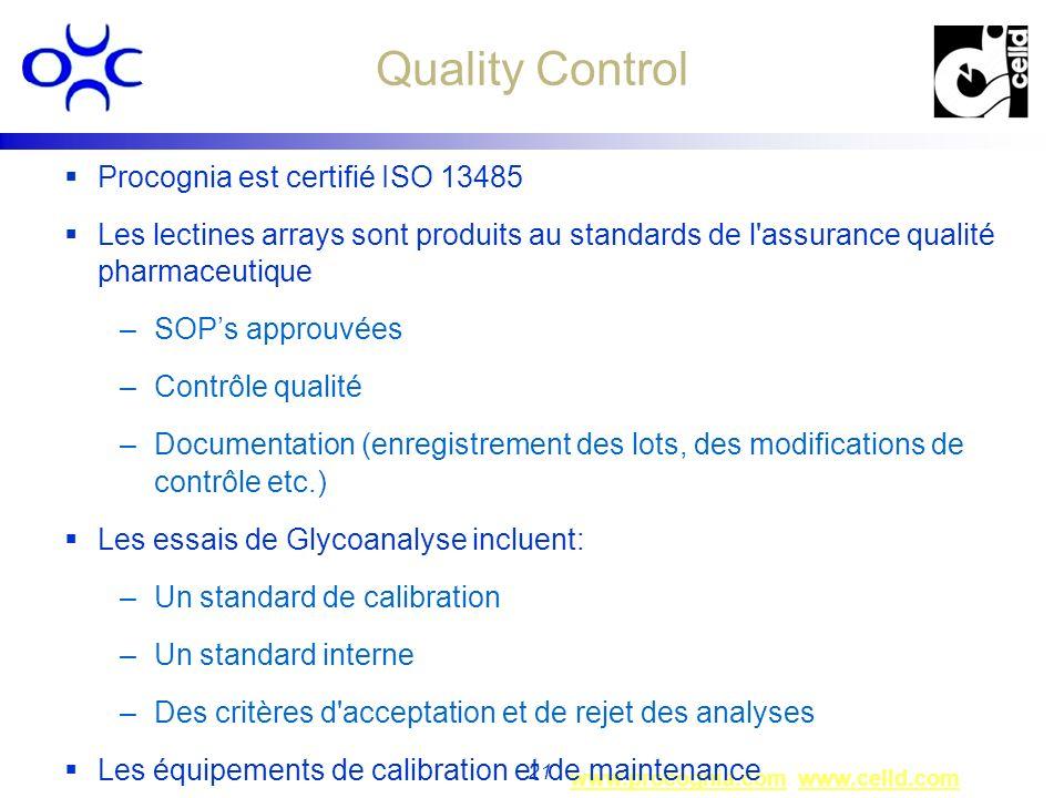 www.procognia.comwww.procognia.com www.celld.comwww.celld.com 21 Quality Control Procognia est certifié ISO 13485 Les lectines arrays sont produits au