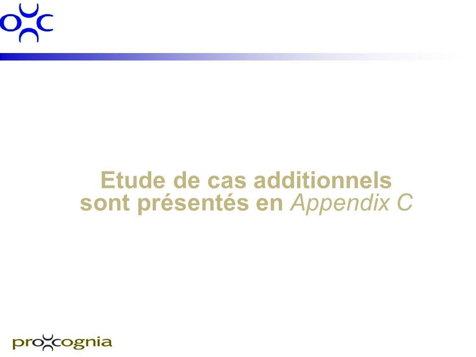 Etude de cas additionnels sont présentés en Appendix C