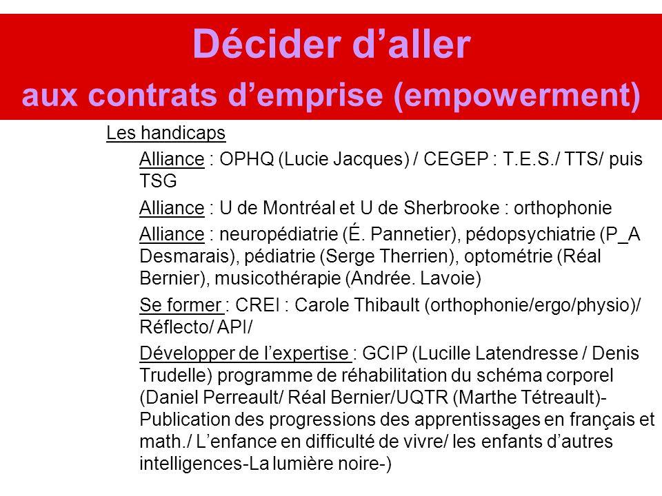 Décider daller aux contrats demprise (empowerment) Les handicaps Alliance : OPHQ (Lucie Jacques) / CEGEP : T.E.S./ TTS/ puis TSG Alliance : U de Montr