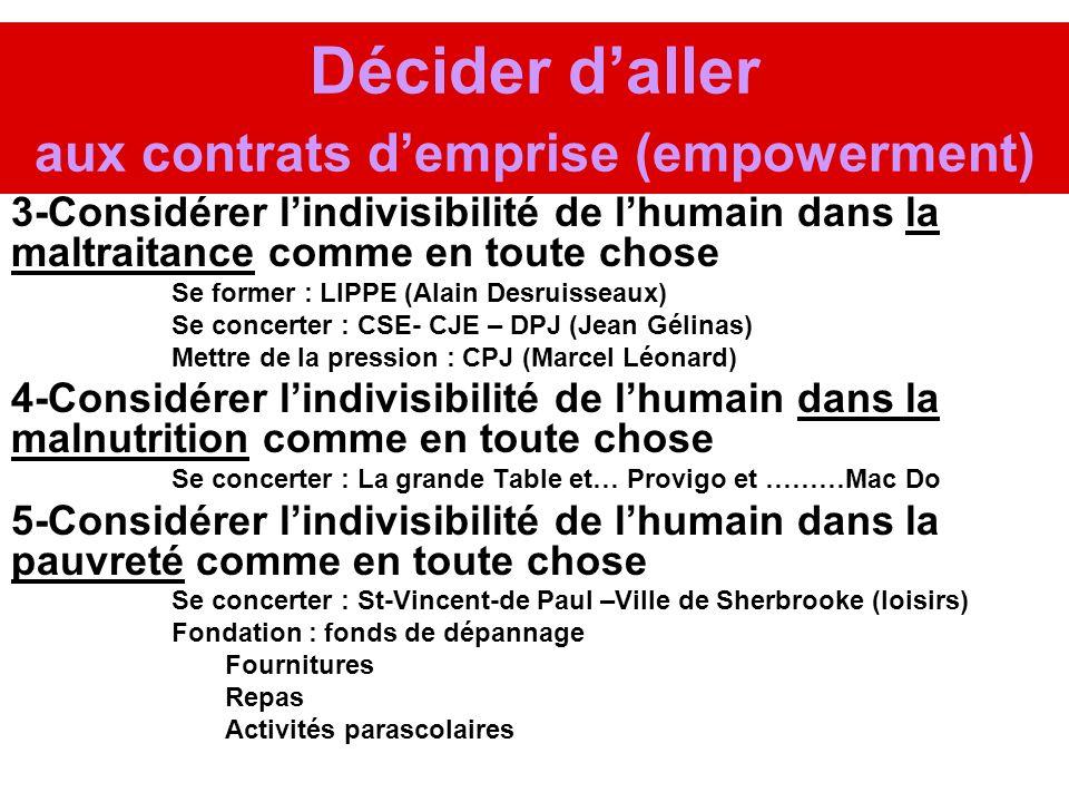 Décider daller aux contrats demprise (empowerment) 3-Considérer lindivisibilité de lhumain dans la maltraitance comme en toute chose Se former : LIPPE