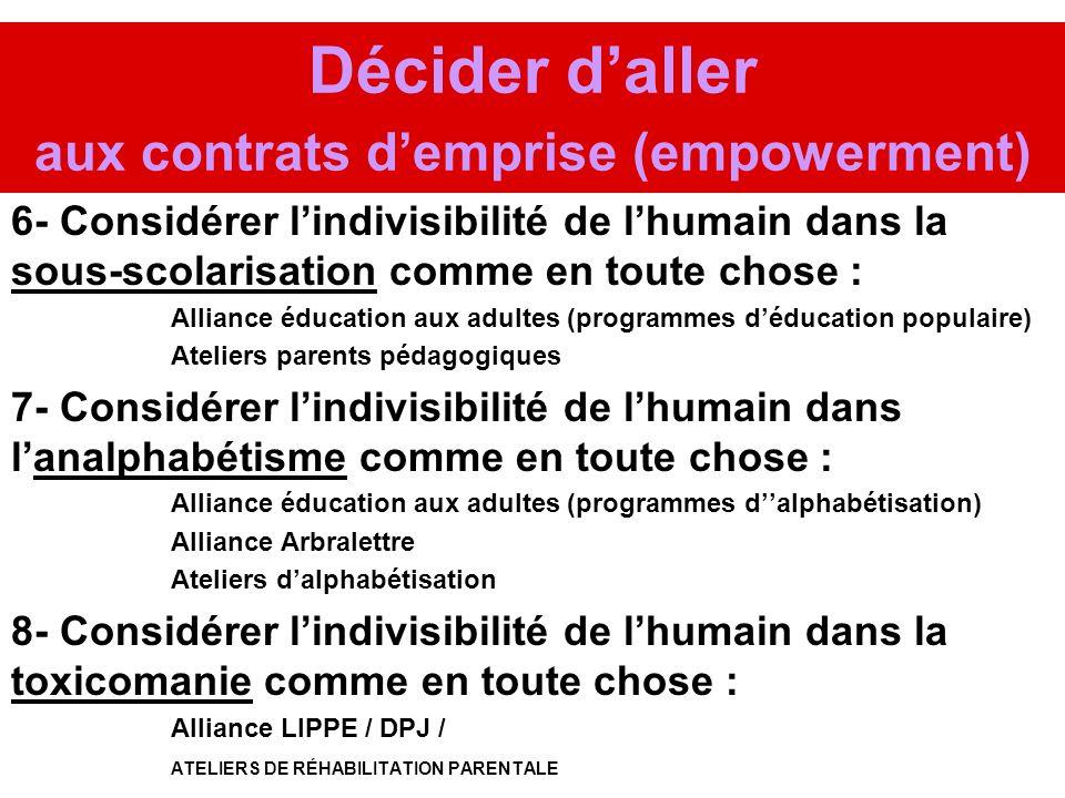 Décider daller aux contrats demprise (empowerment) 6- Considérer lindivisibilité de lhumain dans la sous-scolarisation comme en toute chose : Alliance