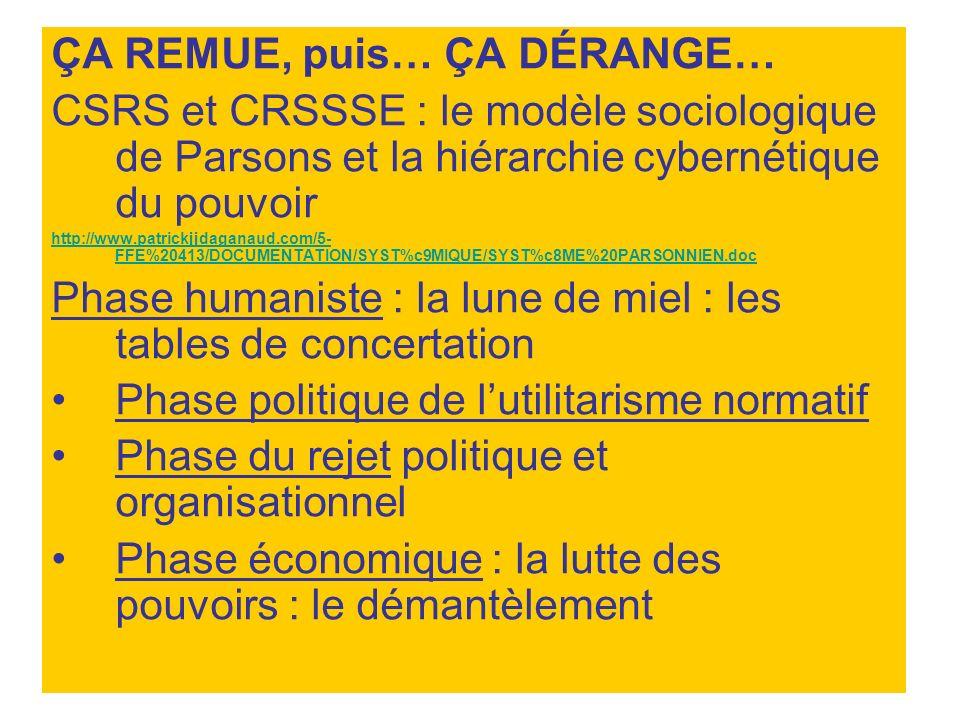 ÇA REMUE, puis… ÇA DÉRANGE… CSRS et CRSSSE : le modèle sociologique de Parsons et la hiérarchie cybernétique du pouvoir http://www.patrickjjdaganaud.c