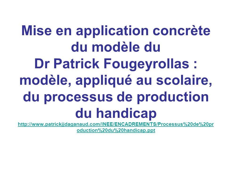 Mise en application concrète du modèle du Dr Patrick Fougeyrollas : modèle, appliqué au scolaire, du processus de production du handicap http://www.pa