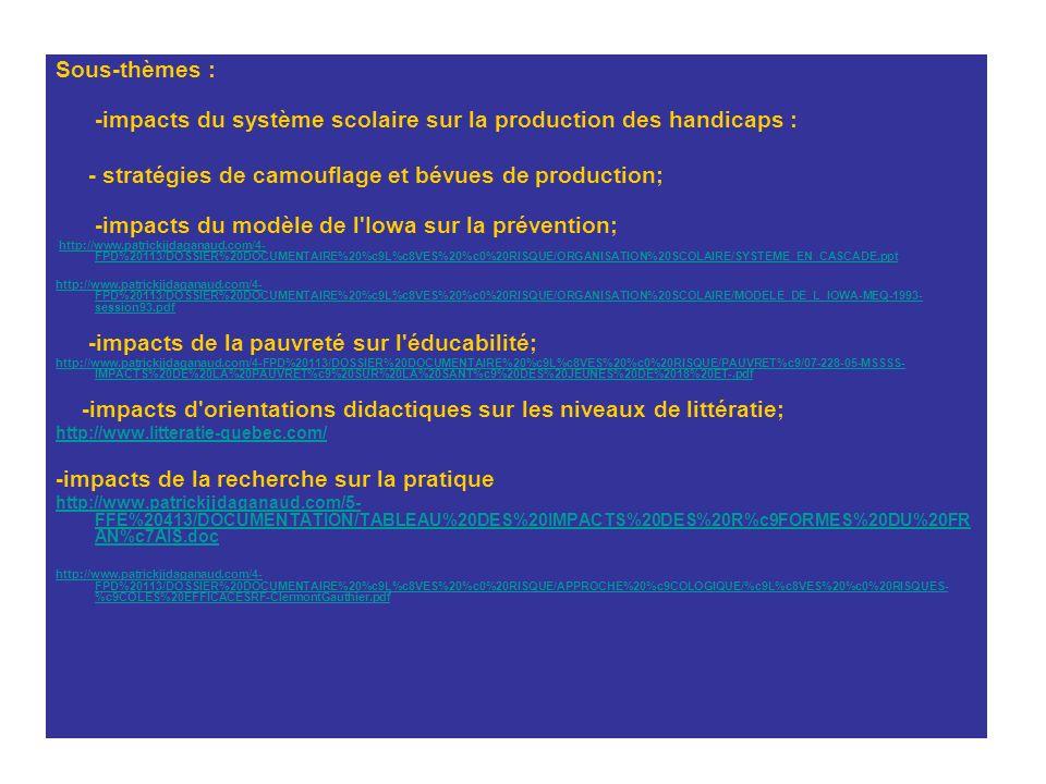 Sous-thèmes : -impacts du système scolaire sur la production des handicaps : - stratégies de camouflage et bévues de production; -impacts du modèle de