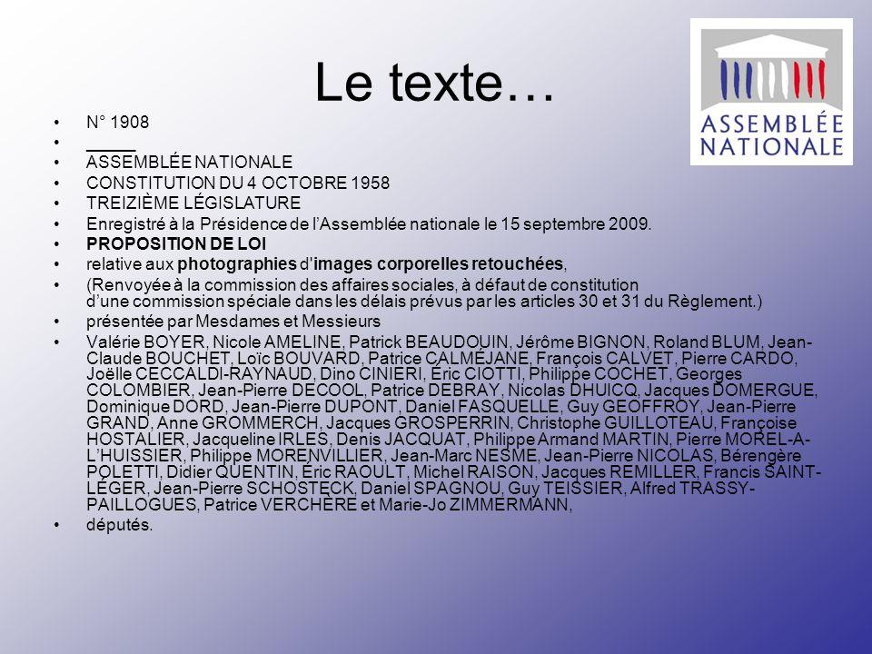 Le texte… N° 1908 _____ ASSEMBLÉE NATIONALE CONSTITUTION DU 4 OCTOBRE 1958 TREIZIÈME LÉGISLATURE Enregistré à la Présidence de lAssemblée nationale le