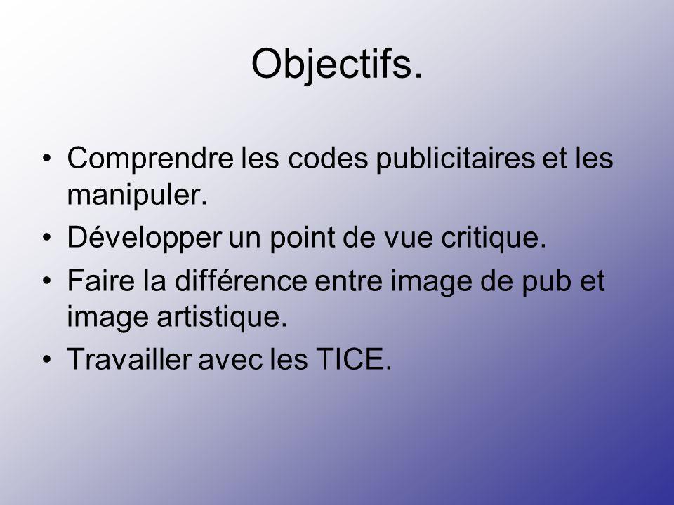 Objectifs. Comprendre les codes publicitaires et les manipuler. Développer un point de vue critique. Faire la différence entre image de pub et image a