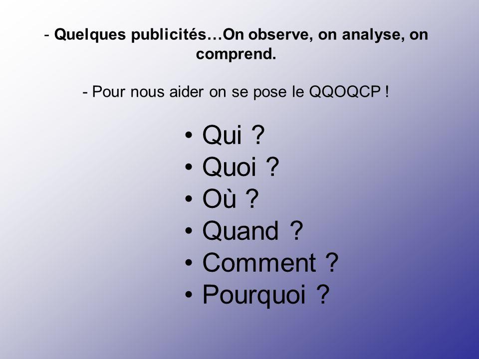 - Quelques publicités…On observe, on analyse, on comprend. - Pour nous aider on se pose le QQOQCP ! Qui ? Quoi ? Où ? Quand ? Comment ? Pourquoi ?