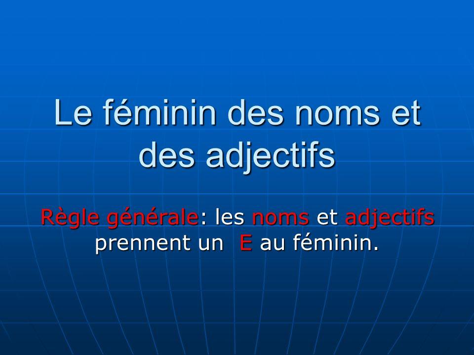 Le féminin des noms et des adjectifs Règle générale: les noms et adjectifs prennent un E au féminin.