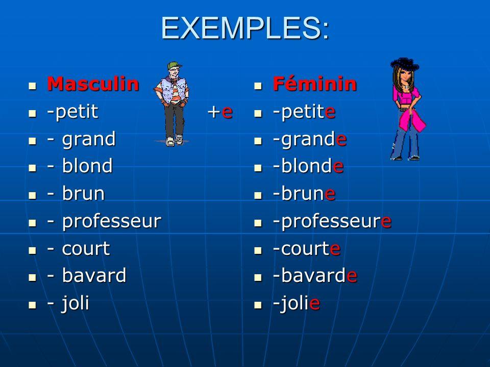 Masculin Masculin -timide = -timide = -sympathique -sympathique -mince -mince -dynamique -dynamique -camarade -camarade -élève -élève -journaliste -journaliste -triste -triste Féminin Féminin -timide -timide -sympathique -sympathique -mince -mince -dynamique -dynamique -camarade -camarade -élève -élève -journaliste -journaliste -triste -triste - Si les noms et adjectifs ont E au masculin, ils ne changent pas au féminin