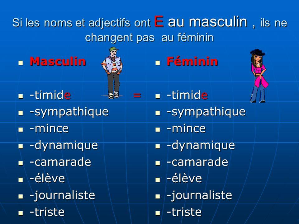 Masculin Masculin -timide = -timide = -sympathique -sympathique -mince -mince -dynamique -dynamique -camarade -camarade -élève -élève -journaliste -jo